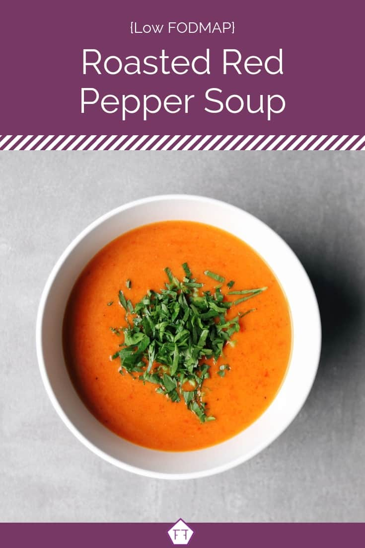 Low FODMAP Roasted Red Pepper Soup in white bowl on grey surface - Pinterest 2