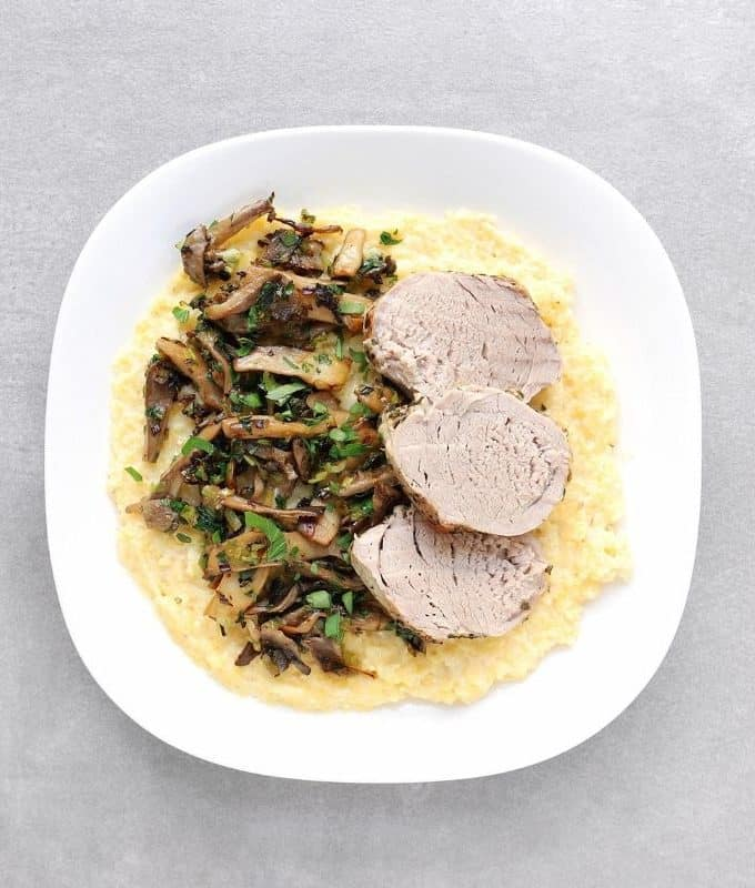 Low FODMAP Rosemary Pork Tenderloin with polenta and roasted mushrooms - Feature Image