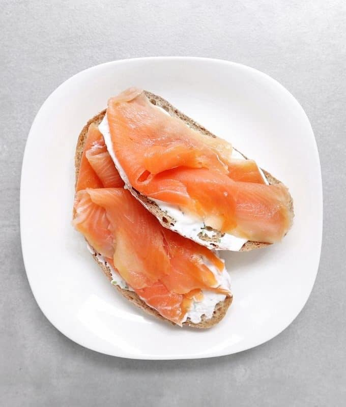 Low FODMAP Salmon Toasts on Plate - Feature Image