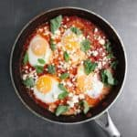 Low FODMAP Shakshuka in metal pan