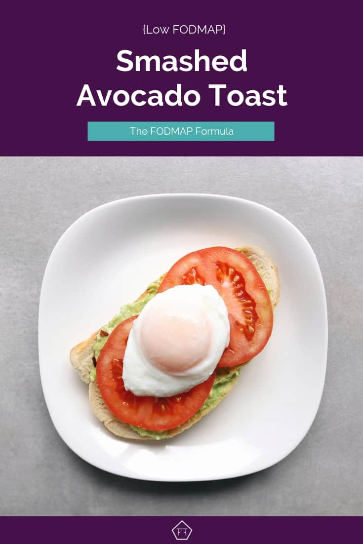 Low FODMAP Smashed Avocado Toast on Plate - Pinterest 4