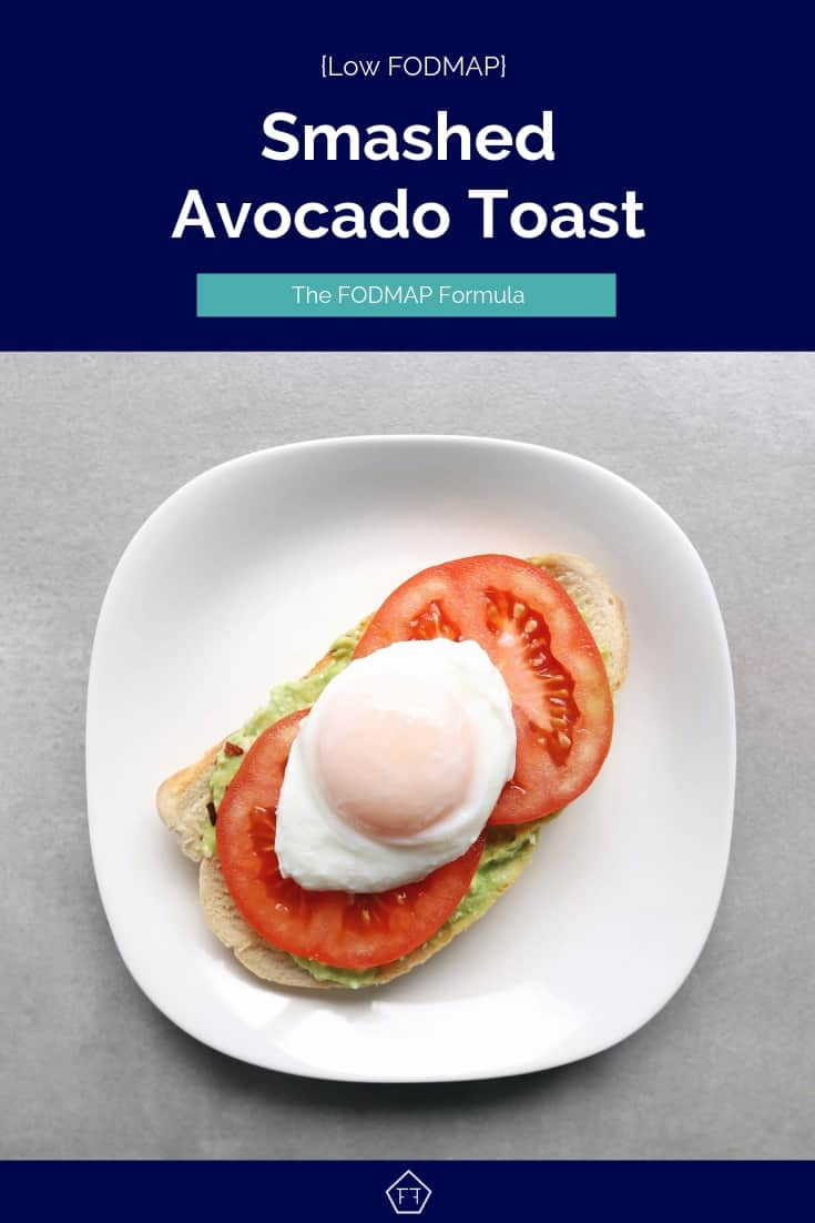 Low FODMAP Smashed Avocado Toast on Plate - Pinterest 6