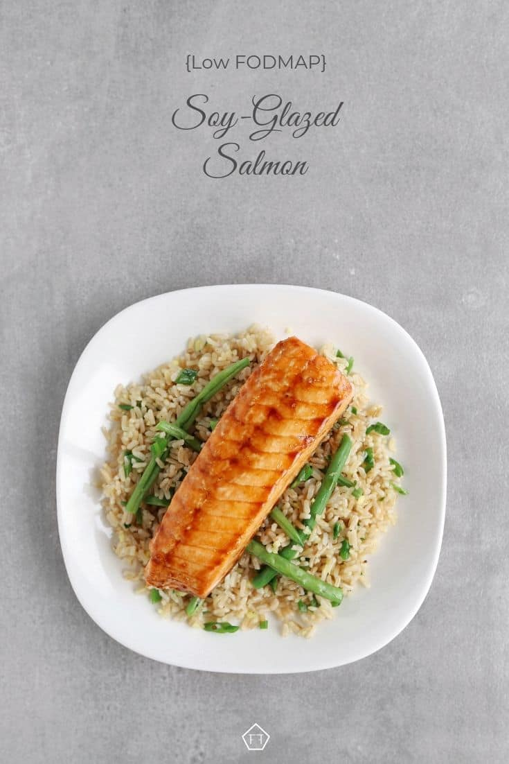Low FODMAP soy-glazed salmon on a bed of green beans and rice - Pinterest 1