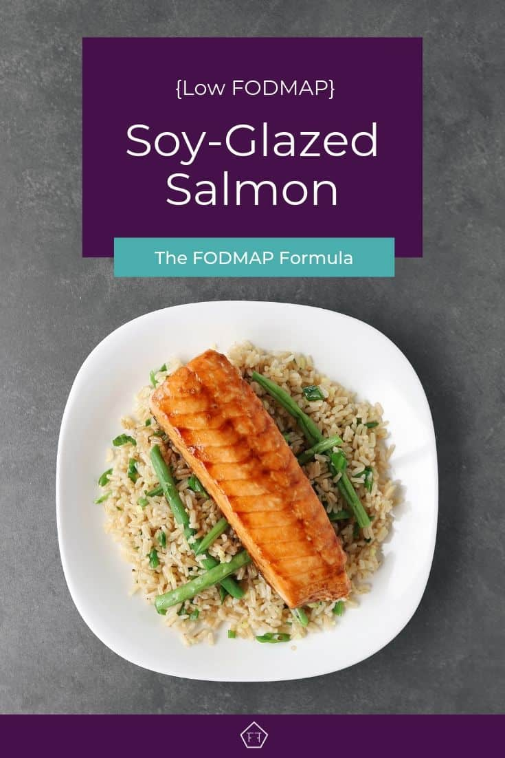 Low FODMAP soy-glazed salmon on a bed of green beans and rice - Pinterest 4