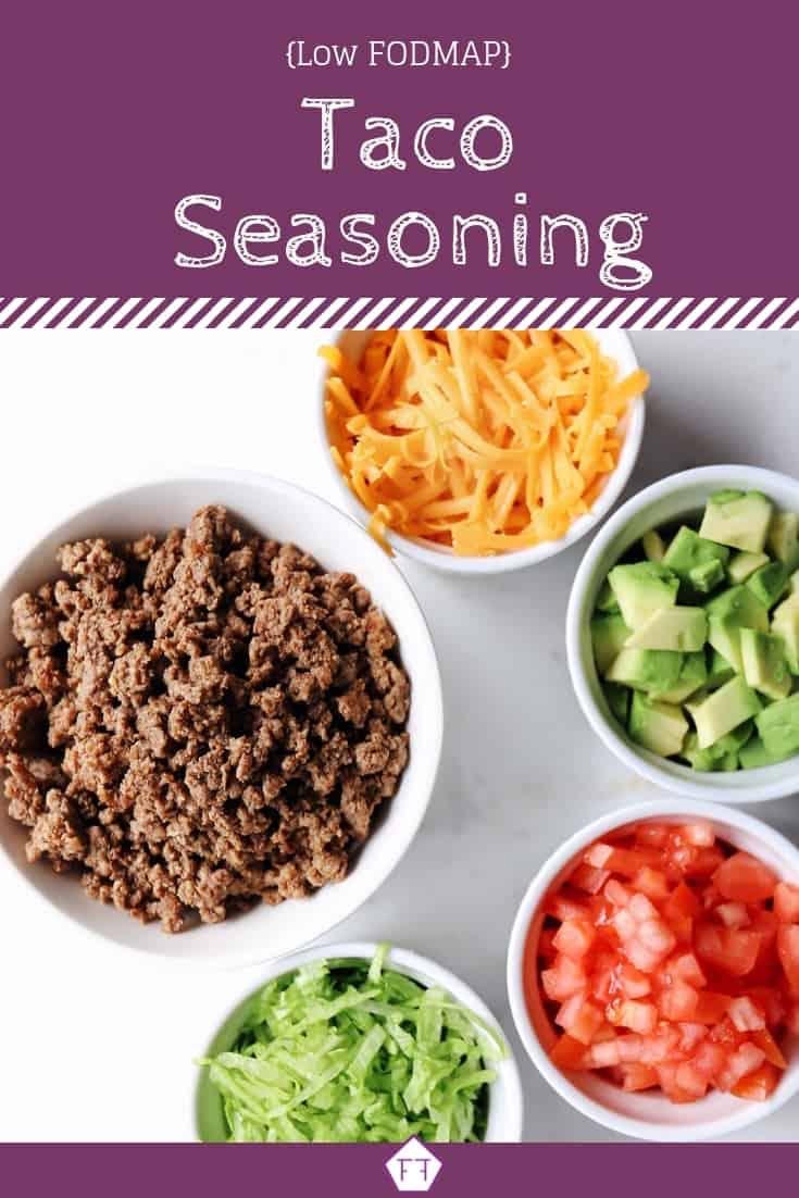 Text Overlay: Low FODMAP Taco Seasoning (purple)