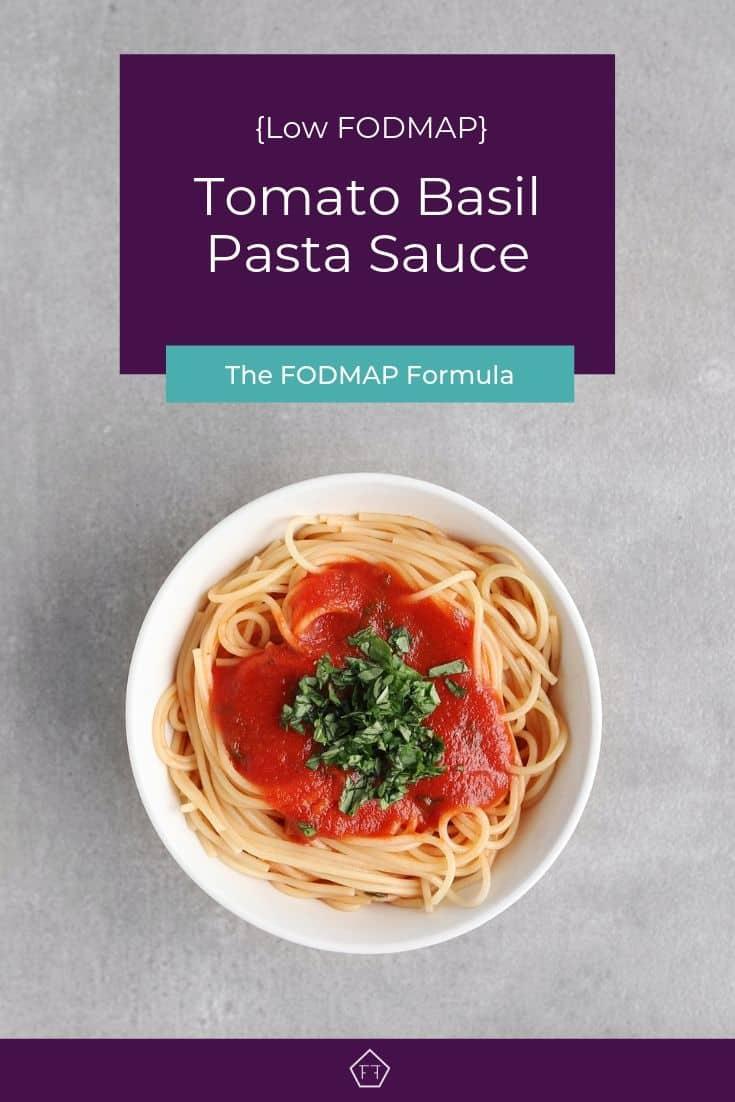 Tomato Basil Pasta Sauce on Spaghetti in bowl - Pinterest 2