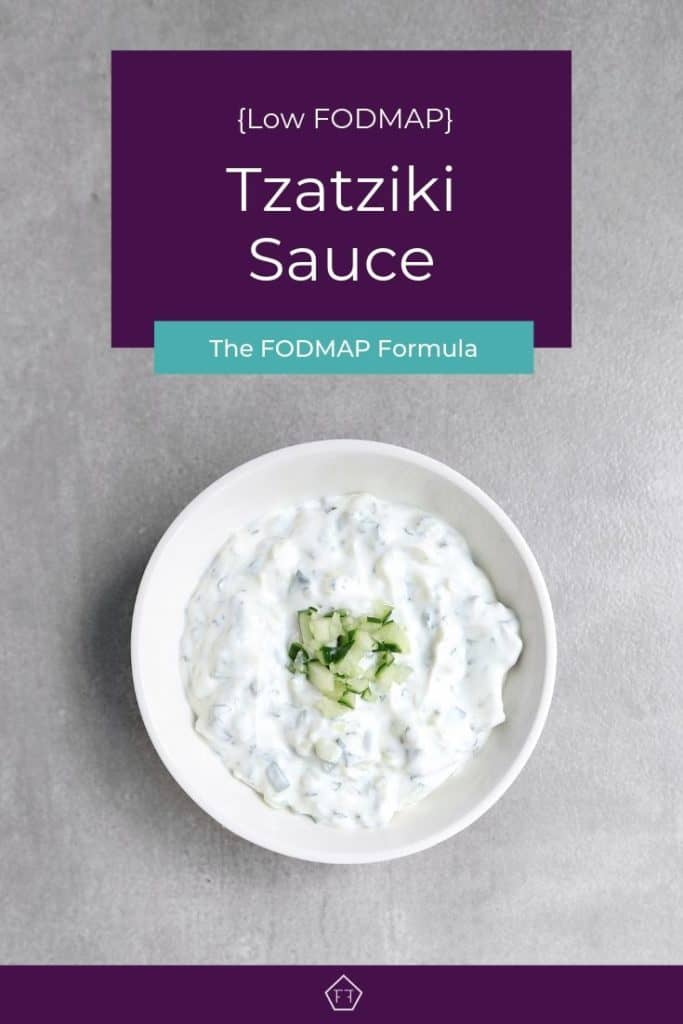 Low FODMAP Tzatziki sauce in bowl with text overlay: Tzatziki Sauce
