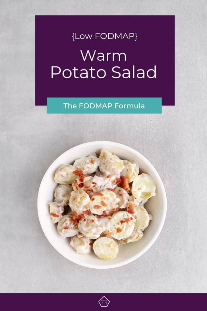 Low FODMAP potato salad with bacon bits in bowl