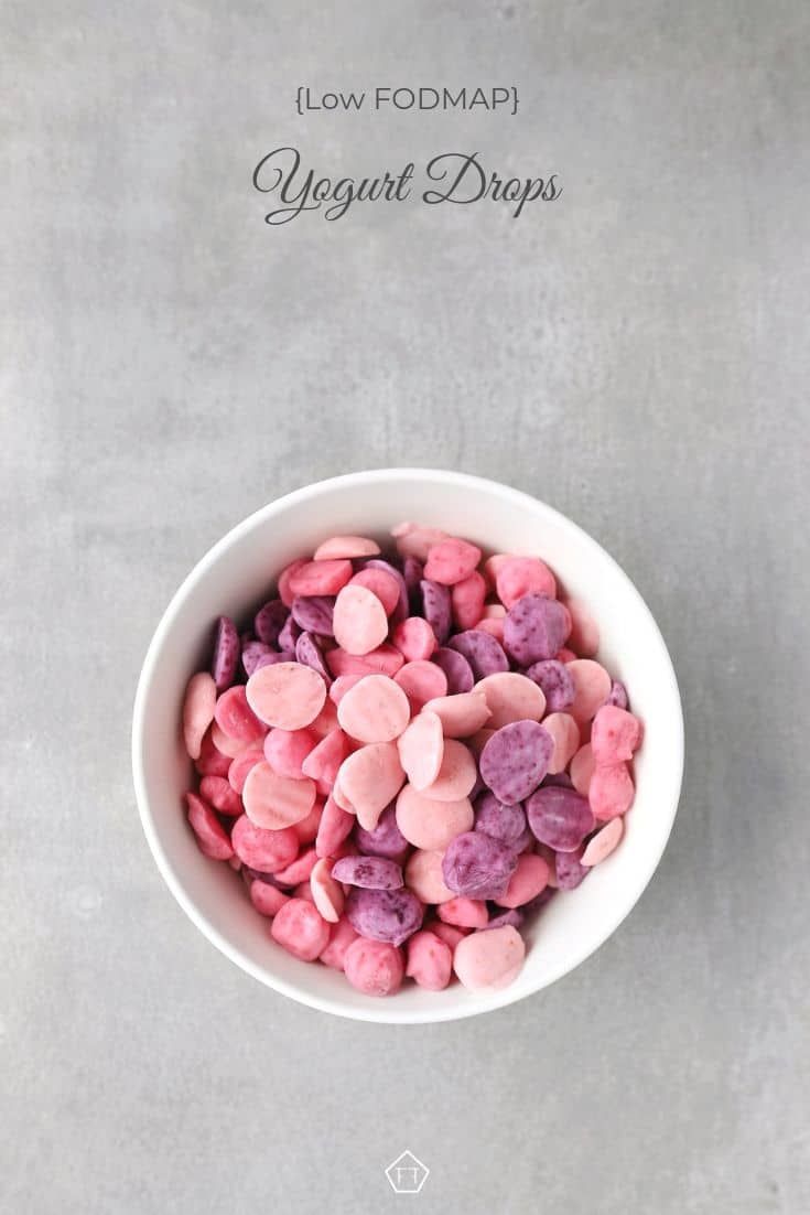 Low FODMAP yogurt drops in bowl - Pinterest 1