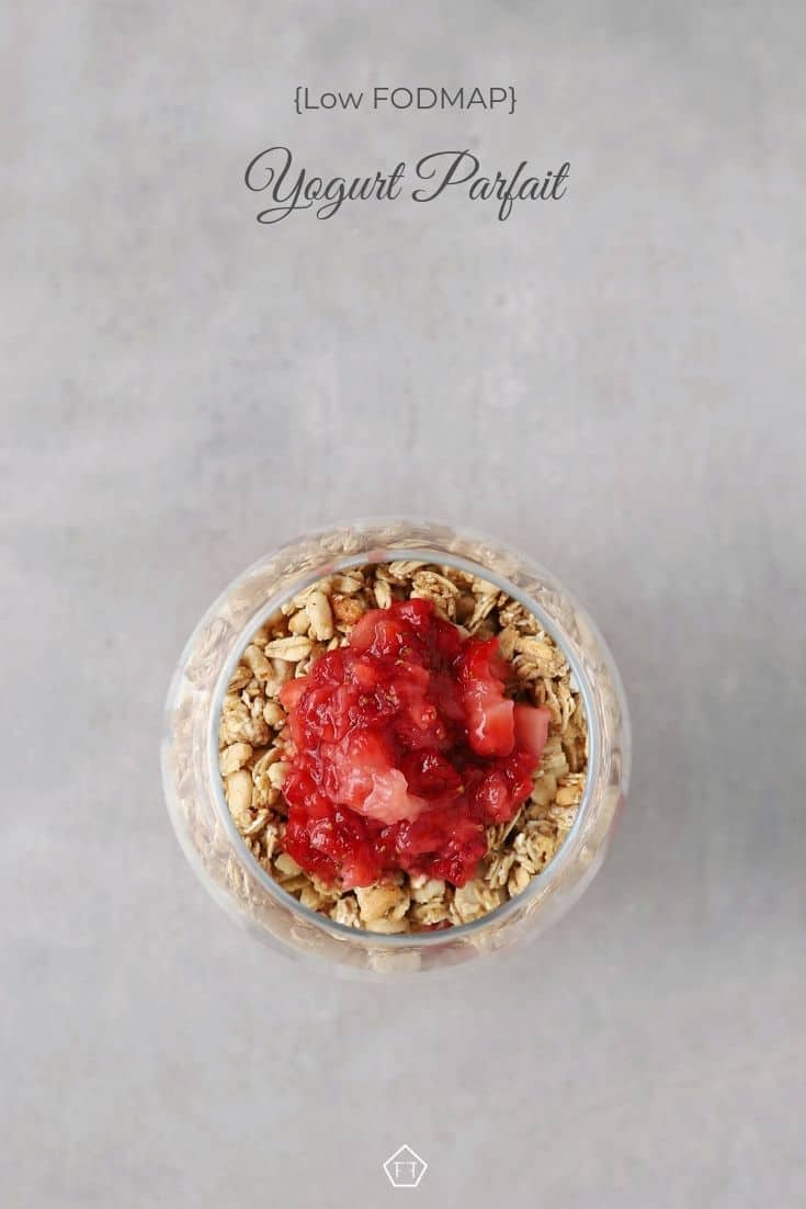 Low FODMAP Yogurt Parfait in small glass - Pinterest 1