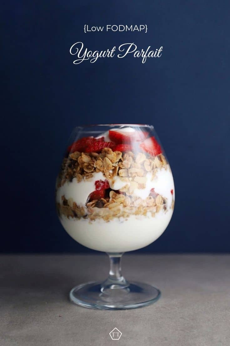 Low FODMAP Yogurt Parfait in small glass - Pinterest 2