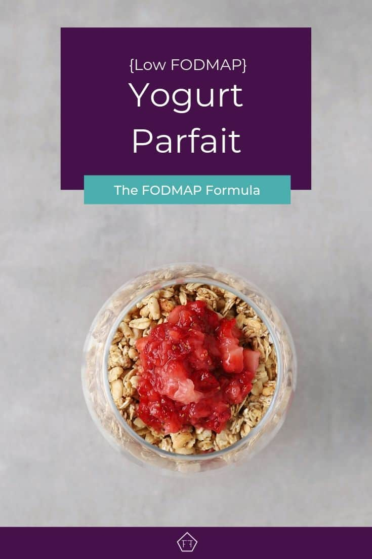 Low FODMAP Yogurt Parfait in small glass - Pinterest 3