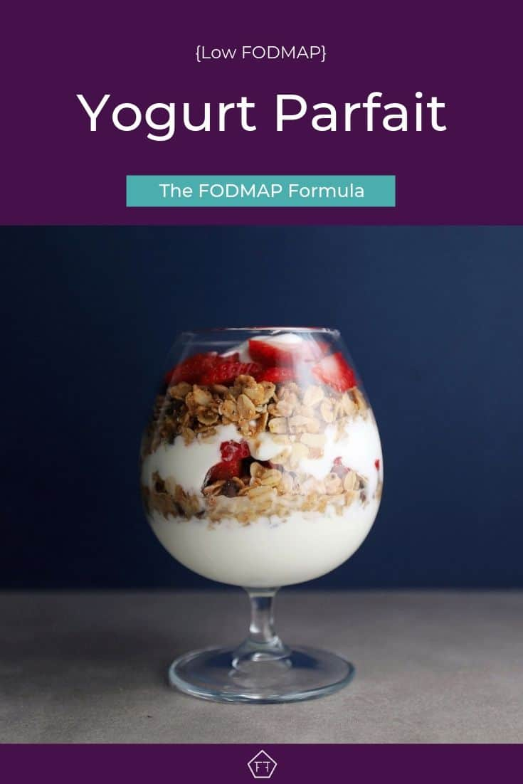 Low FODMAP Yogurt Parfait in small glass - Pinterest 4