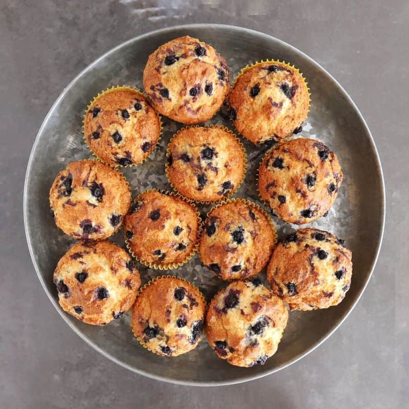 Low FODMAP blueberry muffins on metal stand