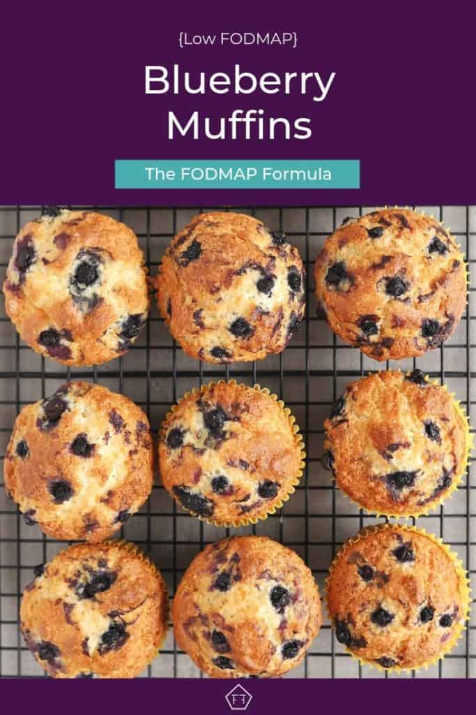 Pin 1 - Low FODMAP blueberry muffins on wire rack