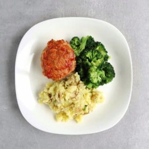 Low FODMAP mini meatloaves on plate with vegetables - 800 x 800