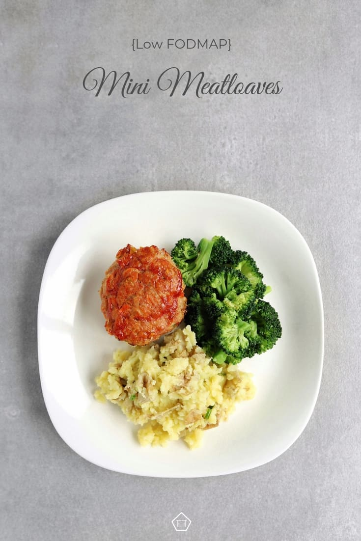 Low FODMAP mini meatloaves on plate with vegetables - Pinterest 1
