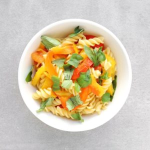 Low FODMAP pasta with roasted pepper sauce in bowl