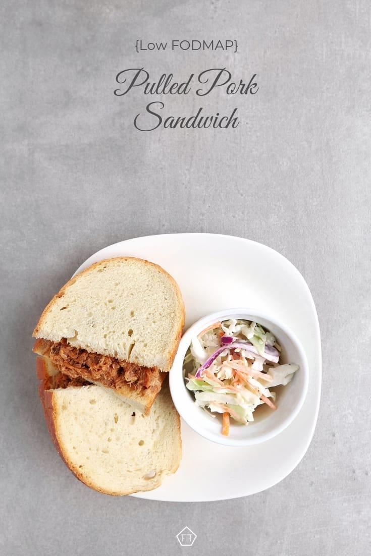 Low FODMAP Pulled Pork Sandwich on Plate - Pinterest 5