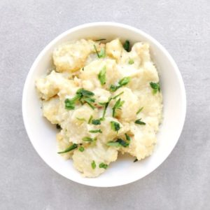 Low FODMAP skillet gnocchi in white bowl