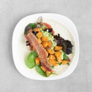 Low FODMAP Sweet Potato Bacon Wrap
