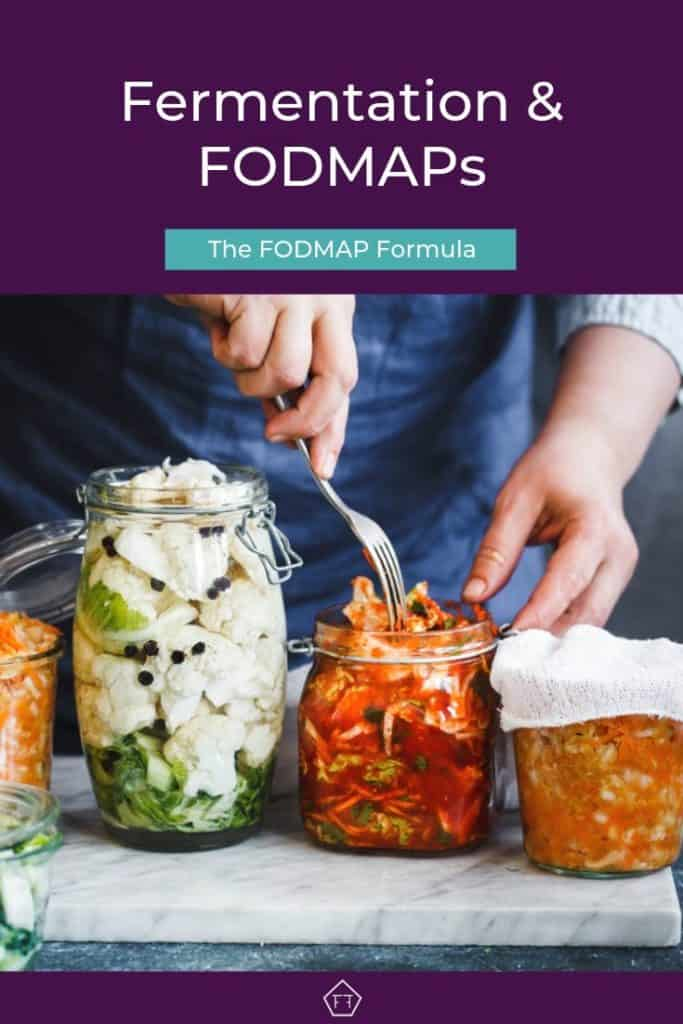 Man packaging fermented food in glass jars with text overlay: fermentation and FODMAPs