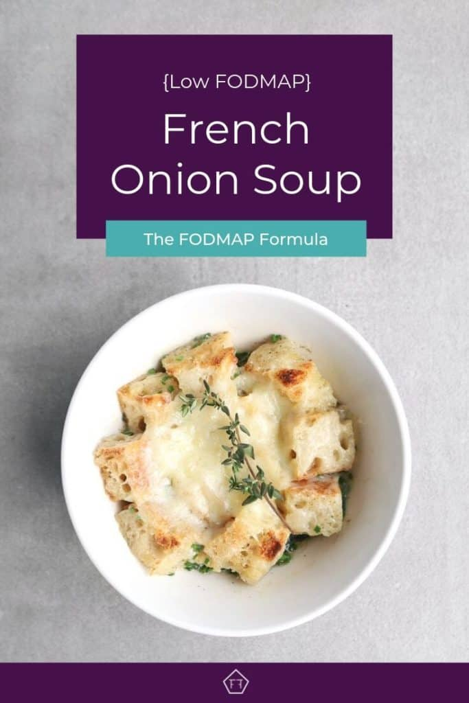 Low FODMAP French onion soup in bowl
